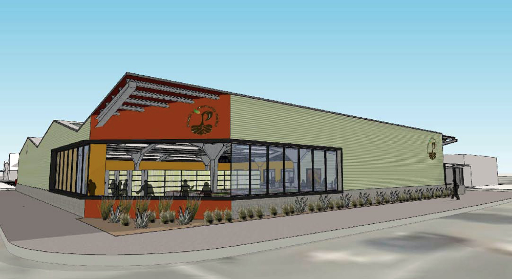 The proposed People's Community Market is a 12,000 square foot corner supermarket about the size of a typical Trader Joe's. Rendering: Lowney Architecture