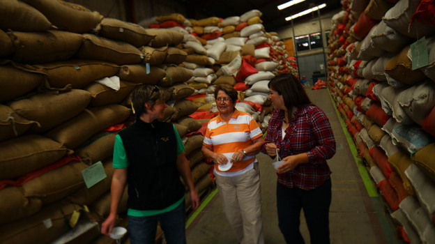 Three women in coffee leading the way: Stephanie Backus of Portland Roasting, coffee farmer Miguelina Villatoro of Guatemala, and coffee exporter/processor Loyreth Sosa. Here they discuss coffee prices as they survey beans ready for milling. Photo: David Gilkey/NPR