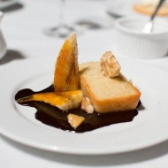 Hazelnut Financière, caramelized bananas, chocolate sauce