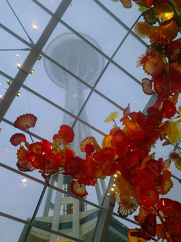 View of Space Needle from Chihuly Garden and Glass Photo: Mary Ladd
