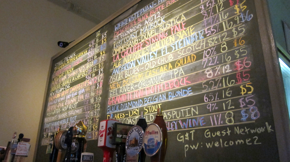 The beer selection at Albany Tap Room