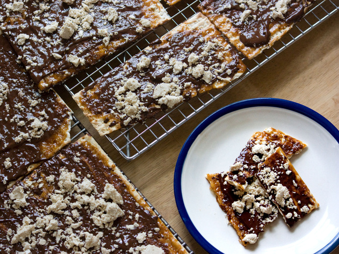 Matzo Candy With Caramel, Chocolate And Halvah. Photo: T. Susan Chang for NPR