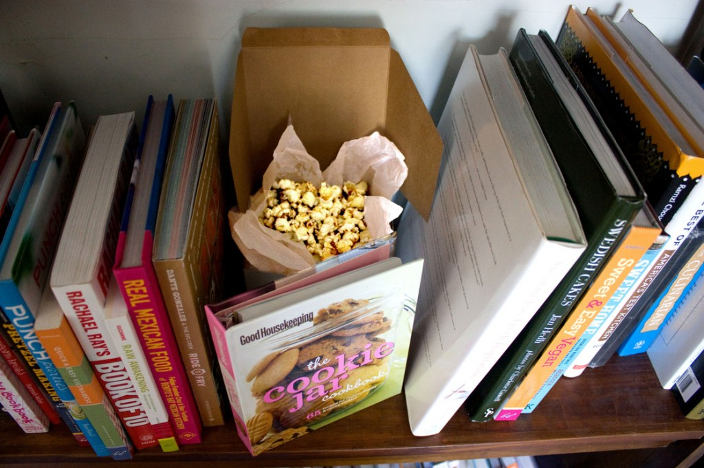 Mom's Posh Porcini Popcorn stashed behind the cookbooks. Photo: T. Susan Chang for NPR