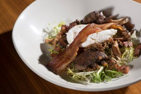 Poached egg with bacon and chicken livers. Photo courtesy of 1300 on Fillmore