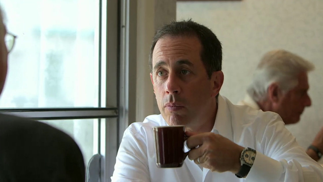 "In an episode of <em>Comedians In Cars Getting Coffee</em> called ""Larry Eats A Pancake,"" Jerry Seinfeld has coffee with Larry David. Photo: YouTube"