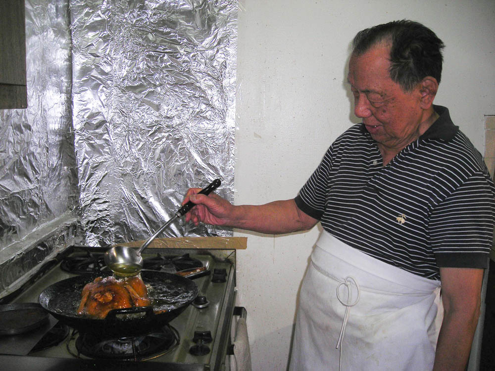 Gong Gong making his famous Chinese Fried Chicken