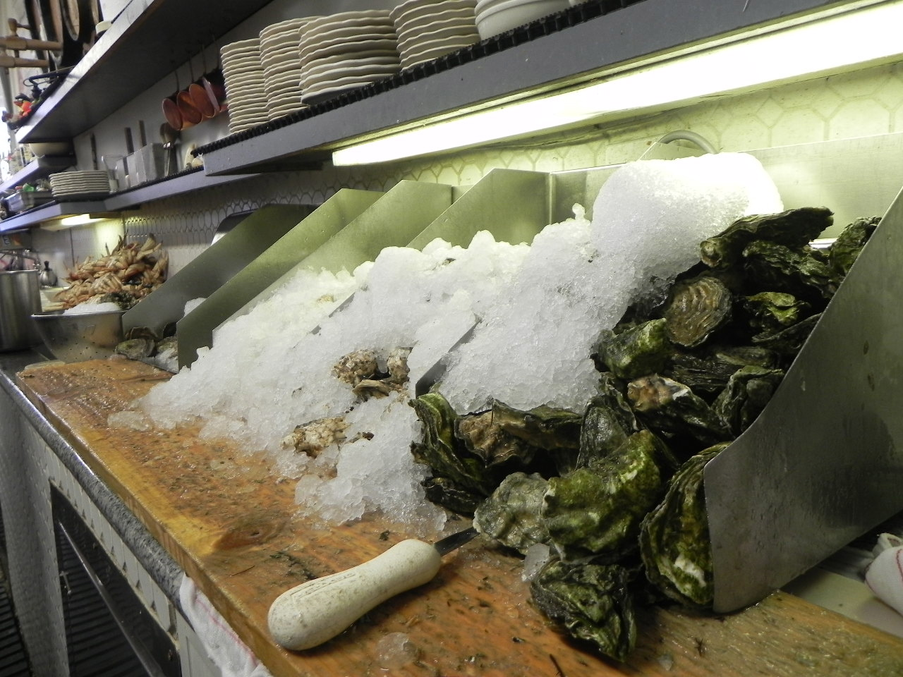 Oysters packed on ice. A shucking tool is the best way to crack one open. Photo: Gina Scialabba