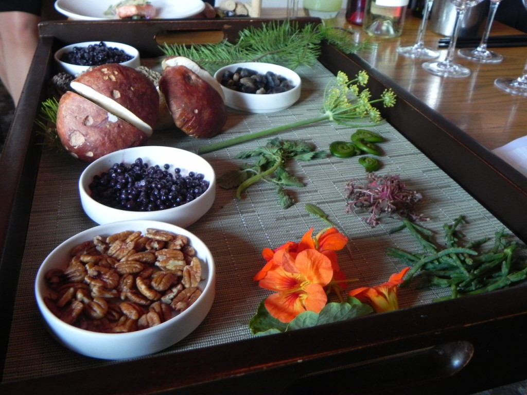 A display of wild foods gathered by Chef Kory Stewart and foraging expert Connie Green.