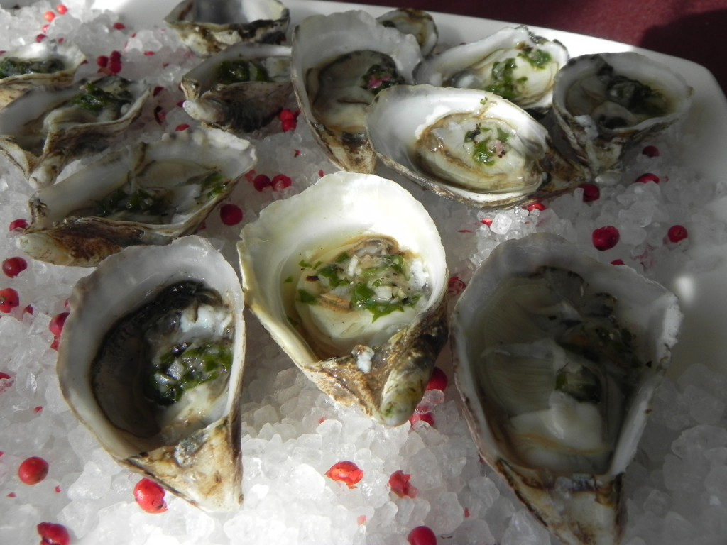 Oysters on a half shell with grilled ramp mignonette were a hit with this group.