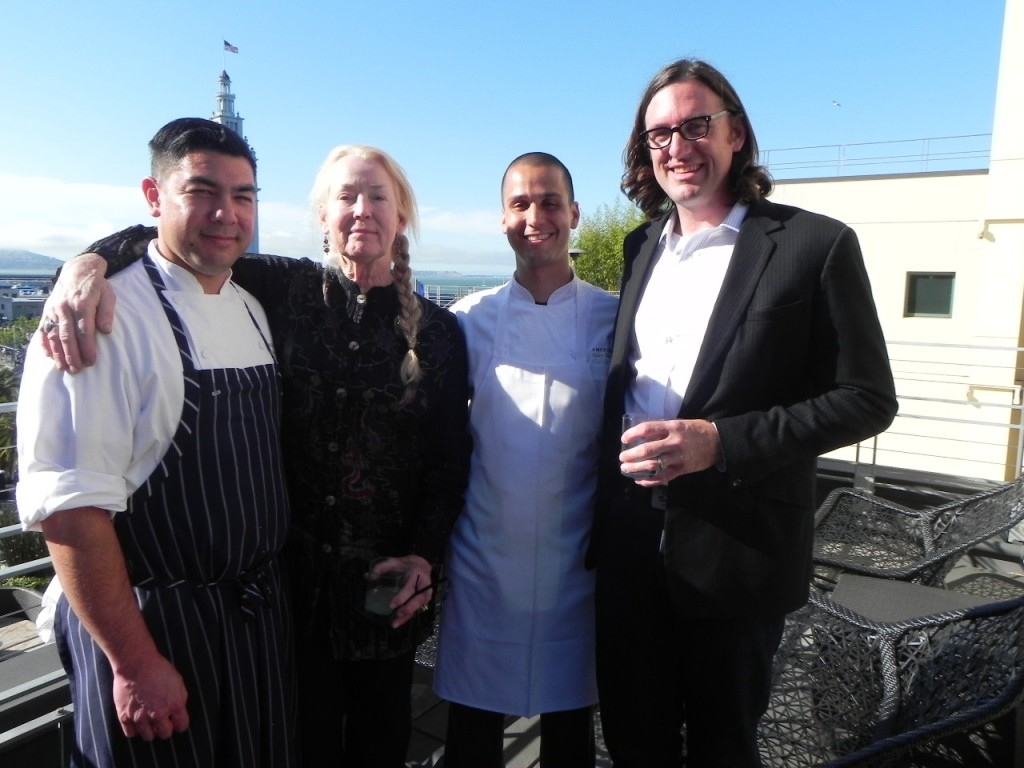 From left to right: Josh Perez, Chef de Cuisine, Connie Green, Kory Stewart, Executive Chef and local producer, Ames Morison.