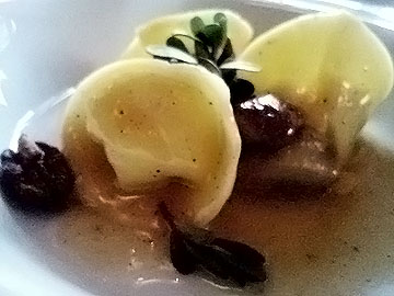 House-made ricotta tortellini with Sierra porcini, wild pecans and honey