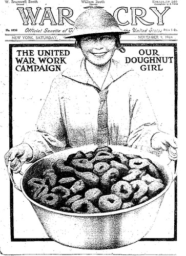 "The cover of the Salvation Army's War Cry magazine from 1918 commemorates the ""Doughnut Girl."" Photo: Wikimedia Commons"