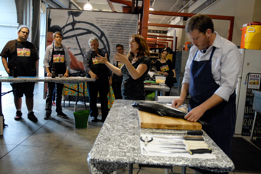 Maria Finn and Neil Davidson teaching Whole Fish Fabrication and Preservation Class. Photo: Wendy Goodfriend