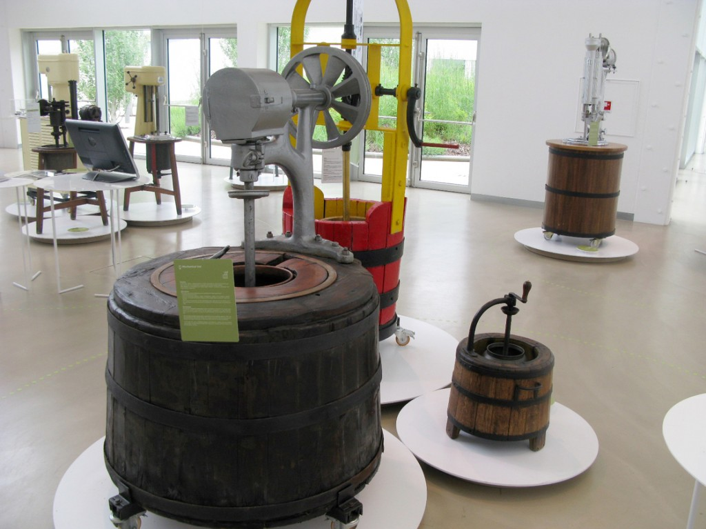 Gelato-making machines through the centuries are on display at the Carpigiani Gelato museum. Photo: Sylvia Poggioli/NPR