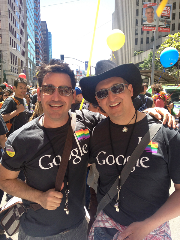 Joel Riddell and Robert Moon with Google contingent at San Francisco Pride Parade. Photo courtesy of Joel Riddell