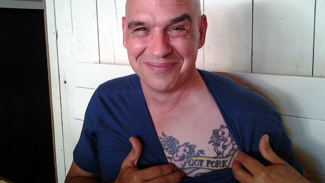 "Celeb Chef Michael Symon Does a Butchering Demo at Rich Table and Shows Off His Angelic ""Got Pork"" Tattoo"