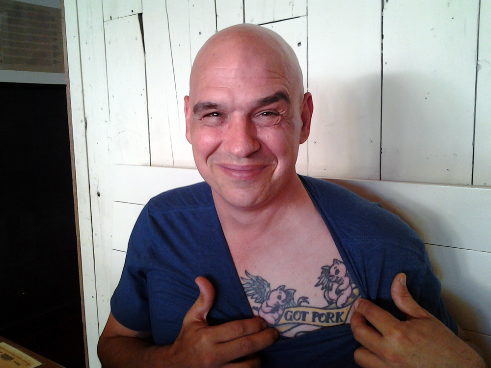 "Michael Symon at Rich Table flashing ""Got Pork"" tattoo. Photo: Mary Ladd"