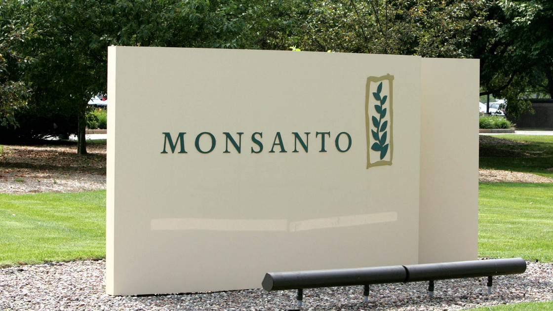 The sign at Monsanto headquarters in St. Louis. Photo: James Finley/AP