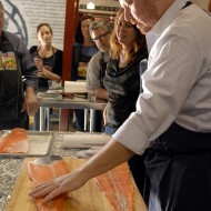 Chef Neil Davidson demonstrates how to skin the fish. Photo: Wendy Goodfriend