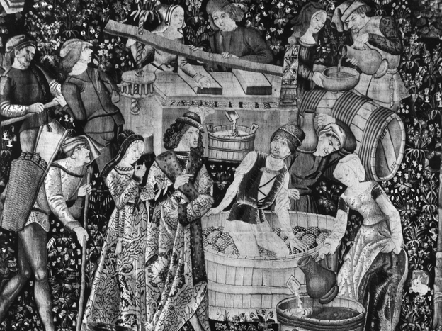 This French tapestry depicts noblemen and women treading and pressing grapes to make wine circa 1500. By then, the French had already been making wine for at least 2,000 years. Photo: Hulton Archive/Getty Images