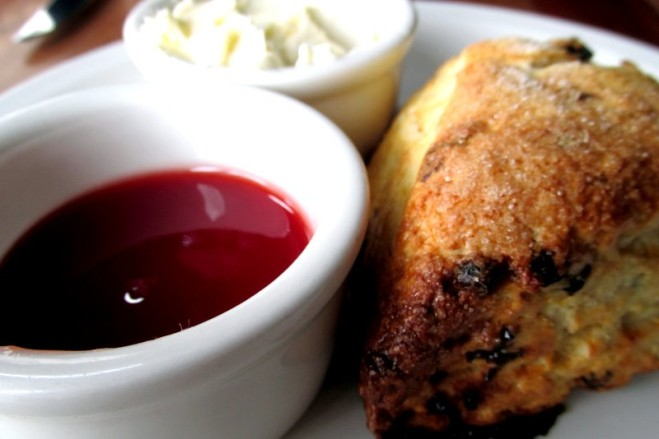 Currant Scone with Wild Plum Jam at Tribune Tavern brunch. Photo: Jonathan Darr