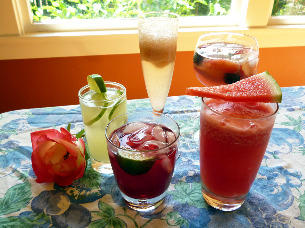 Summer Cocktails: Cucumber Rose Cooler, White Peach Bellini, Pink Sangria, Pirate Jenny, Sandia