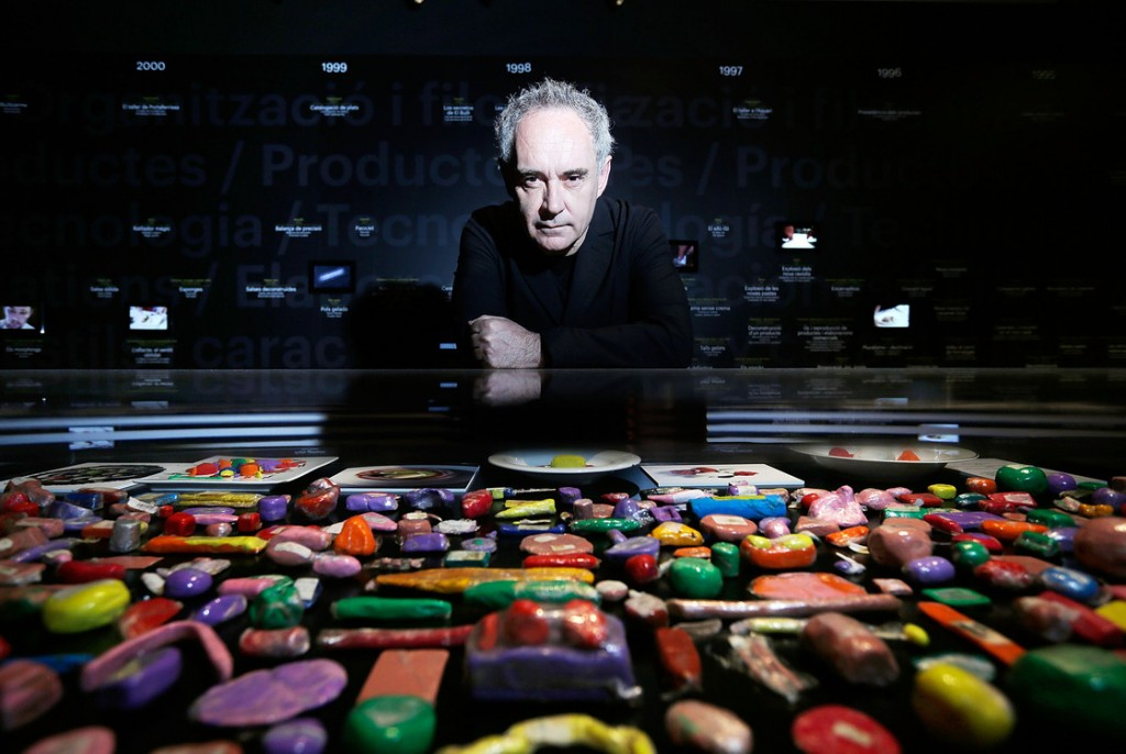 Catalan chef Ferran Adrià poses with plasticine models of his food on display at Somerset House in London. A new exhibit looks back at the influential modernist chef and his landmark restaurant, El Bulli. Photo: Matthew Lloyd/Getty Images for Somerset House