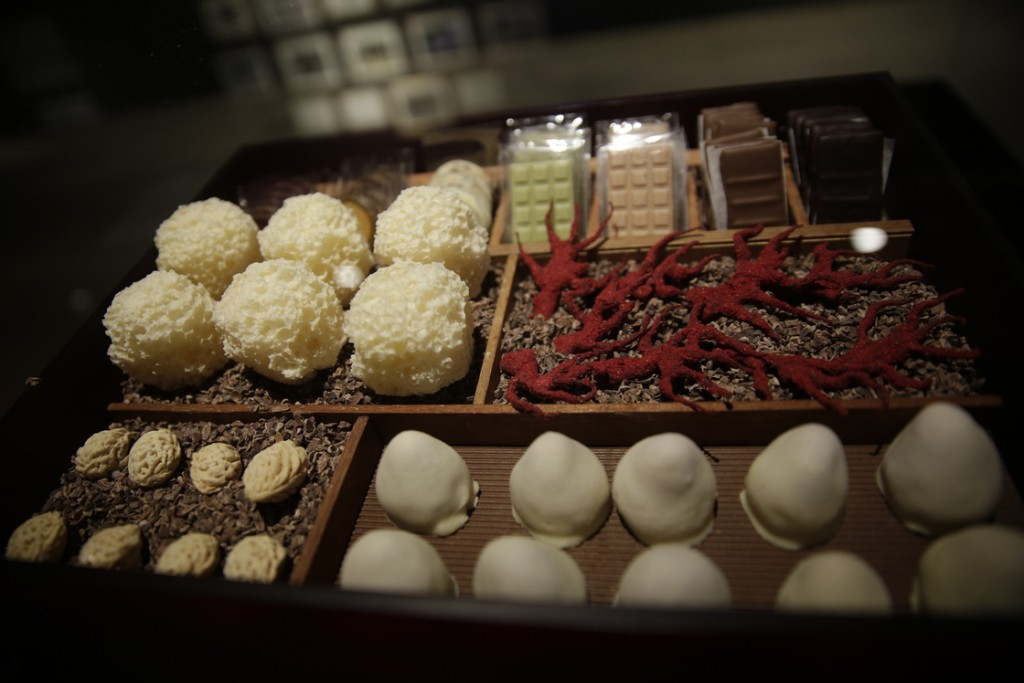 The museum exhibit includes a replica of a box of 17 different kinds of elaborately produced chocolate bon-bons served at the end of each multi-course meal at El Bulli. Photo: Matthew Lloyd/Getty Images for Somerset House