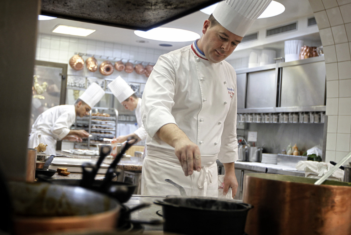We're guessing microwavable, premade meals are not an issue in this kitchen, at the three-Michelin-star restaurant L'Auberge du Pont de Collonges near Lyon, France. Photo: Laurent Cipriani/AP