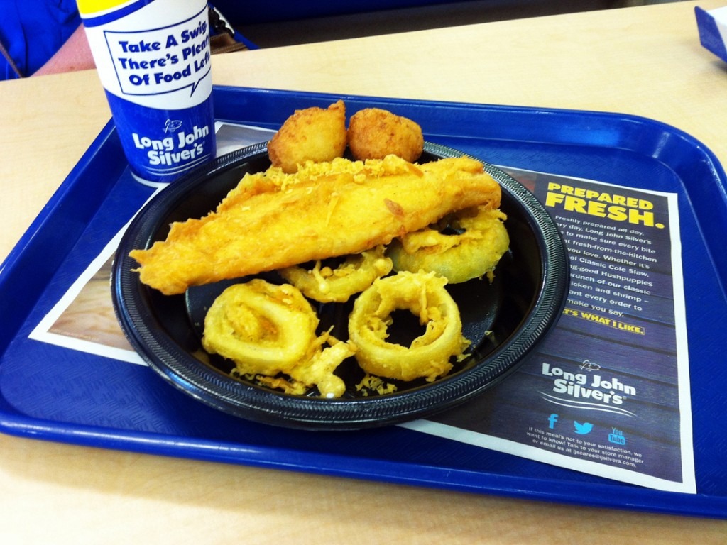 Long John Silver's Big Catch platter will net you 33 grams of trans fats in one meal. Photo: Courtesy of Clare Politano/Center for Science in the Public Interest