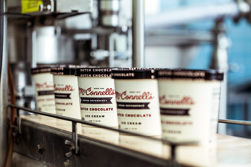 McConnell's Dutch Chocolate ice cream on the assembly line. Photo: Eric Wolfinger