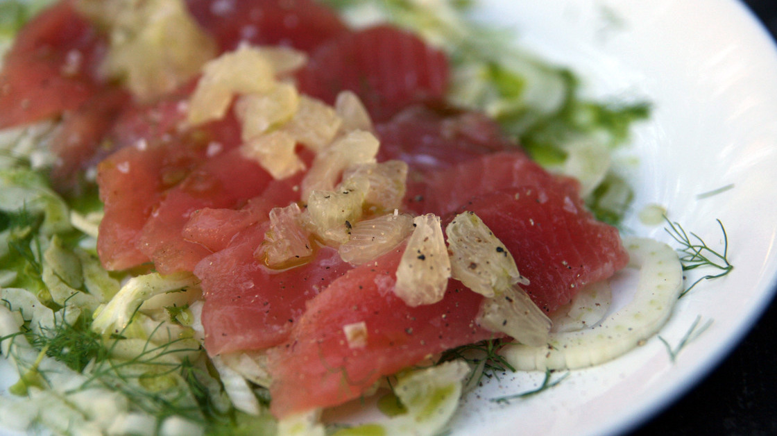 Italian-style Crudo with Basil Oil, Fennel and Lemon. Photo: Deena Prichep for NPR