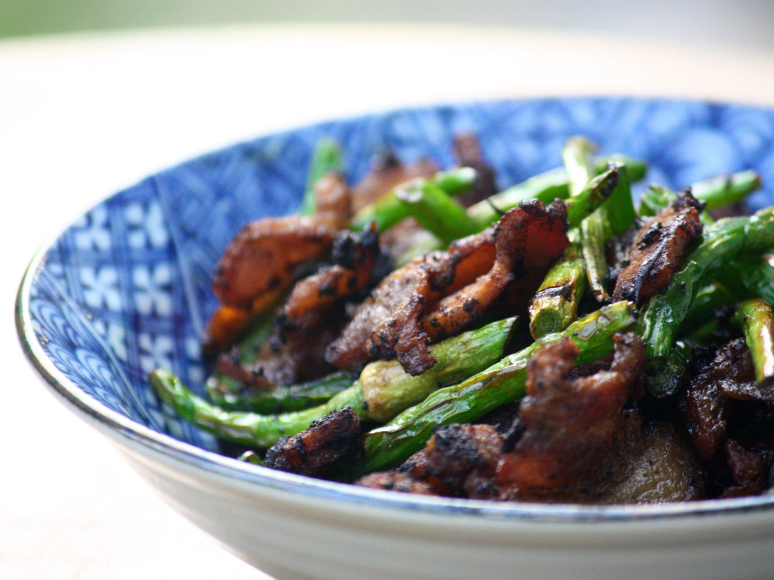 Pork And Garlic Scape Stir-Fry. Photo: T. Susan Chang for NPR