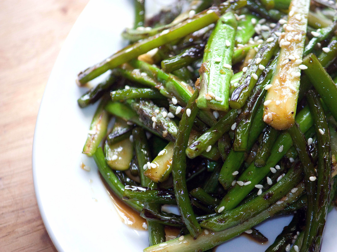 Sesame Ginger Scapes And Asparagus. Photo: T. Susan Chang for NPR