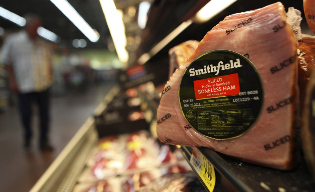 A Smithfield ham at a grocery store in Richardson, Texas, in 2011. Some senators expressed qualms Wednesday about the intentions of Shuanghui International Holdings, which is buying Smithfield Foods Photo: LM Otero/AP