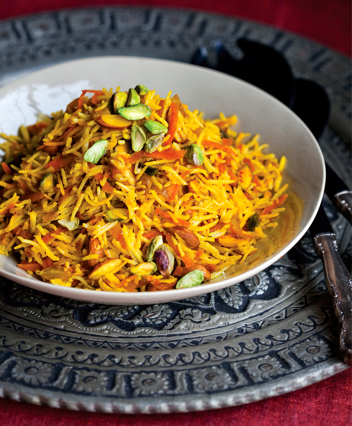 Rice-based dishes, like this Sweet Rice with Carrots and Nuts, feature in The New Persian Kitchen. Photo: Sara Remington