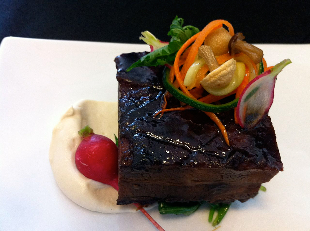 Asian-Braised Pork Belly with Gomae and Pickled Asian Veg. Photo courtesy Nosh SF