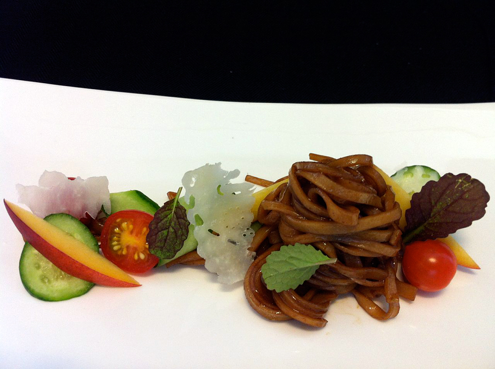 House Balsamic Pasta with Shaved Parm, Marinated Veg, Micro Herbs. Photo courtesy Nosh SF