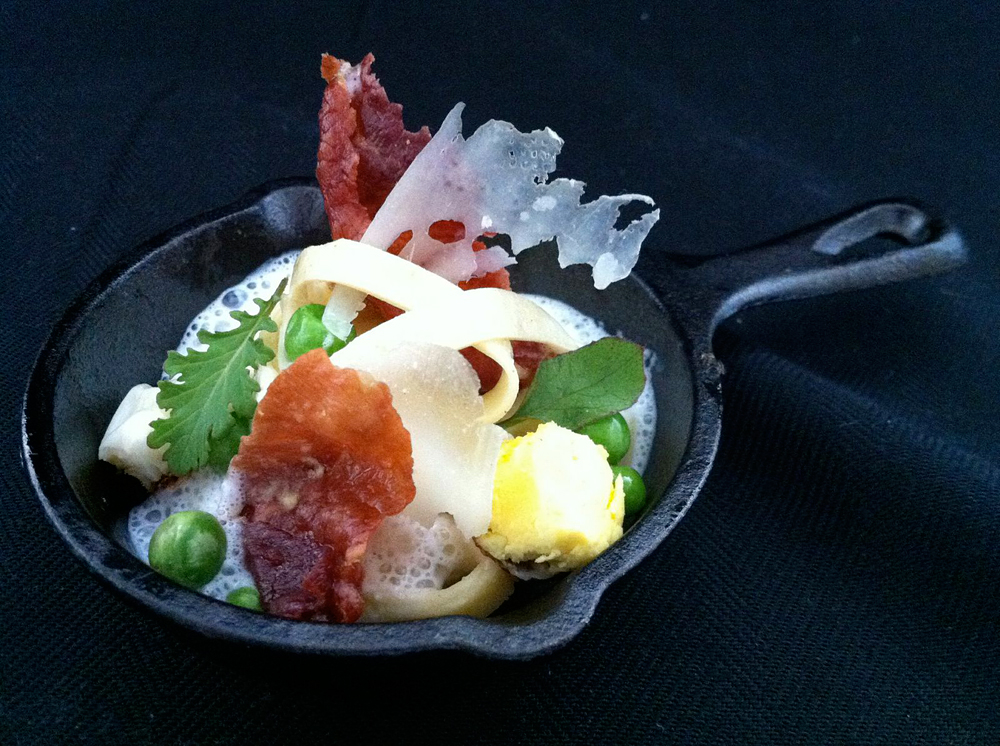 Amuse Bouche - Mini Pasta Carbonara with Deep Fried Prosciutto. Photo courtesy of Nosh SF