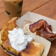 Breakfast at Outside Lands: Blue Bottle Coffee & Griddled French Toast  from Il Cane Rosso, with whipped cream and salted maple caramel + crispy bacon and fried egg on the side