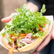 Lamb Banh Mi (One Market): roasted leg of lamb, pickled vegetables, cilantro, on an ACME bun