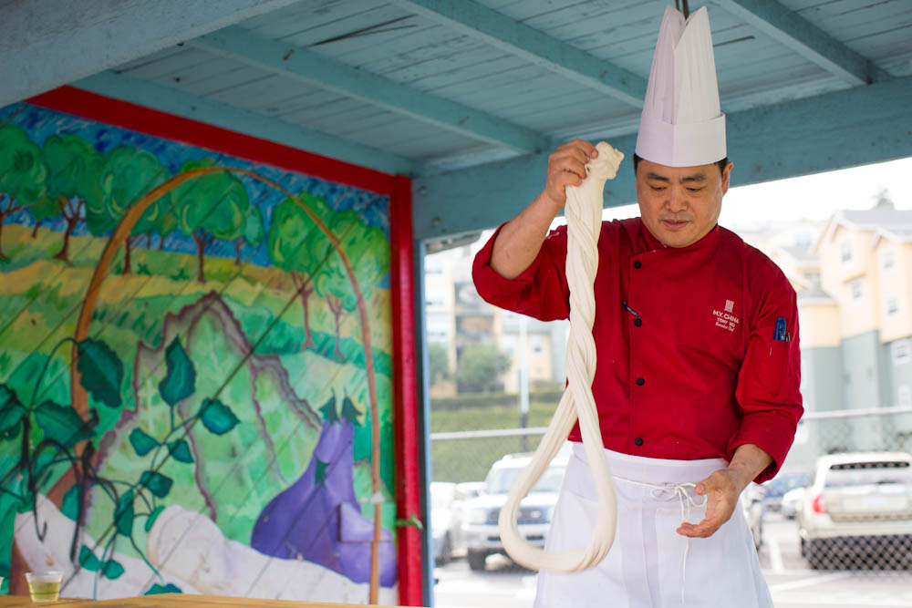 M.Y. China Executive Chef Tony Wu making hand-pulled noodles