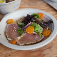 Albacore Tataki with ponzu and microgreens (Greg Dunmore, Nojo)