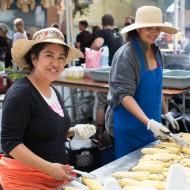 Grilling corn for Elote (Los Cilantros)