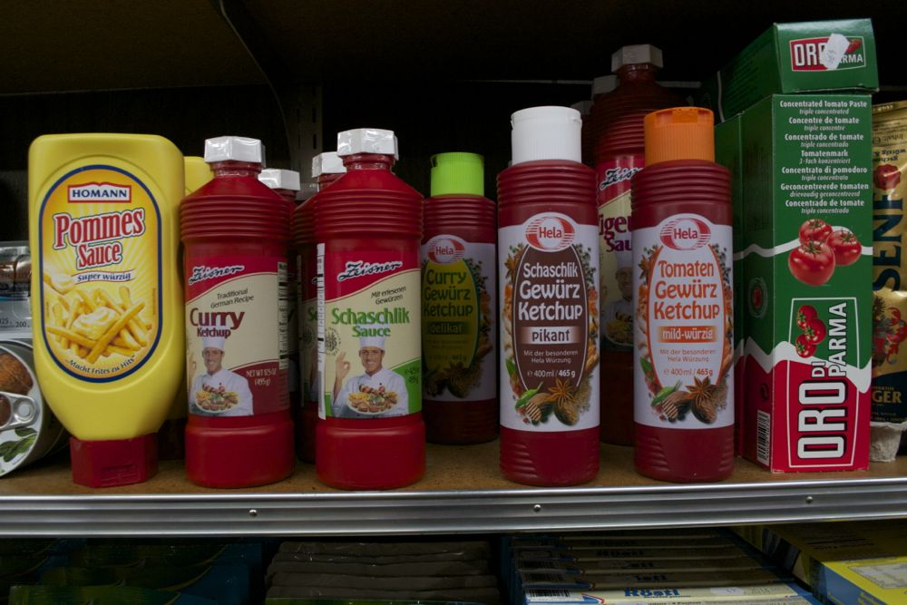 Curry and other flavored ketchups are popular items. Photo by Sara Bloomberg