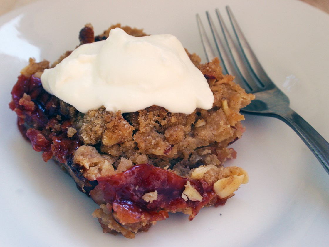 Plum-Cherry Crumble. Photo: Emily Hilliard for NPR