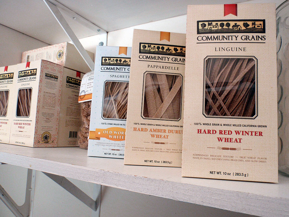 Community Grains sells different flavors of whole wheat pasta and flour. Photo: Kelly O'Mara