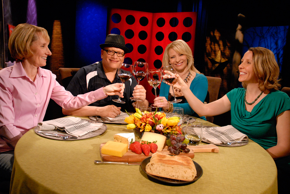 Guests and host Leslie Sbrocco tape the seventh episode of Season 8 of Check, Please! Bay Area at KQED. Photo: Wendy Goodfriend