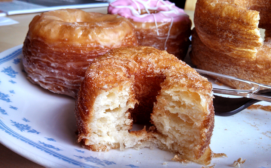 Cronuts have flaky layers, like a croissant, but are fried and iced and rolled in sugar, like a donut. Photo: Kelly O'Mara