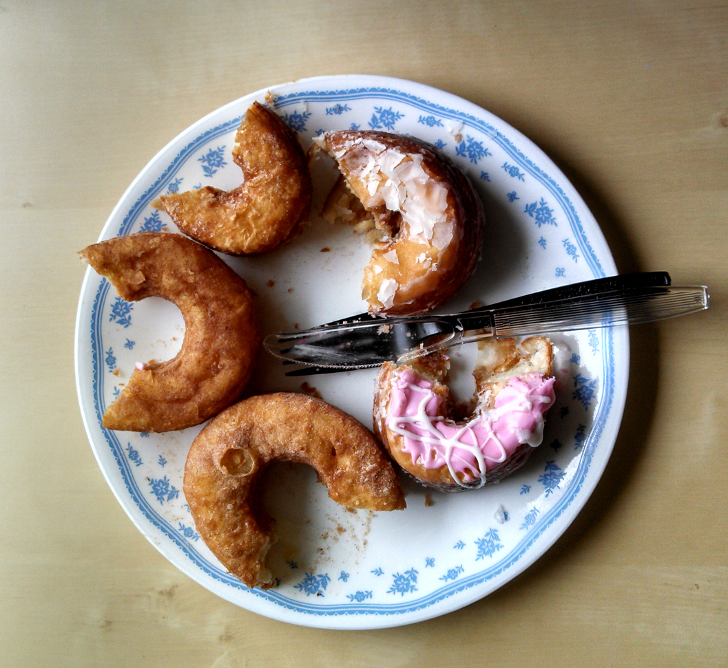 The five cronuts after sampling. Photo: Kelly O'Mara